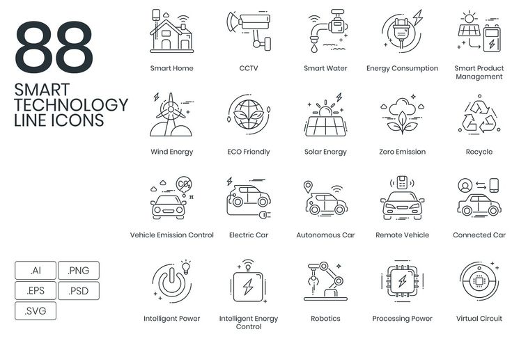 88 Smart Technology Line Icons ~ Icons ~ Creative Market