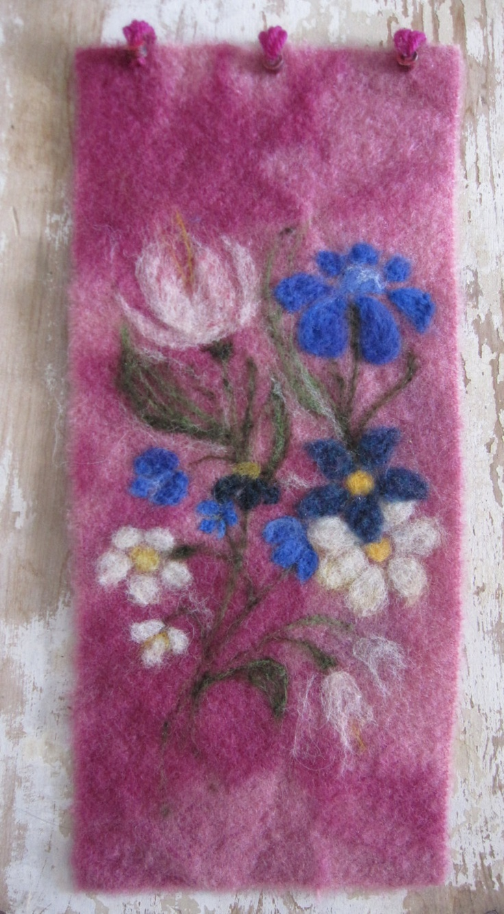 Needle felted wall hanging - soft garden florals needle felted onto hand-dyed boiled wool pink background.