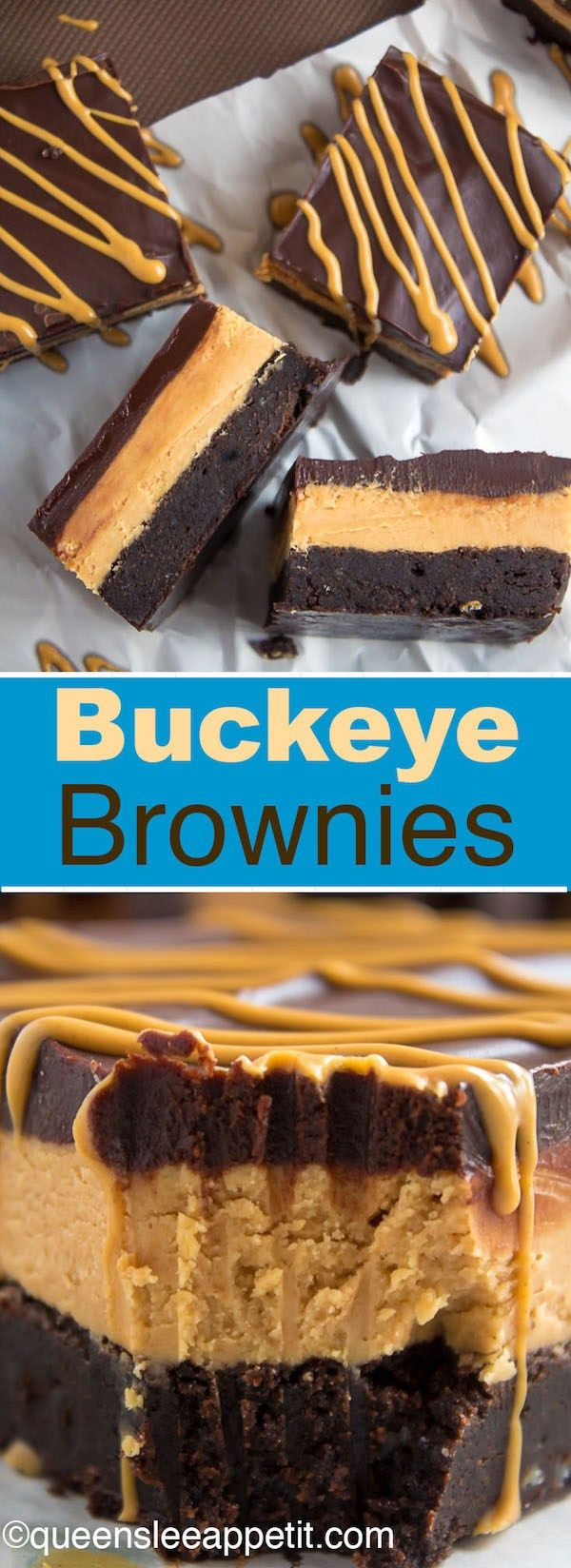 Buckeye Brownies — a decadent fudge brownie, with a smooth and thick peanut butter filling, topped with a rich chocolate ganache and drizzled with melted peanut butter!