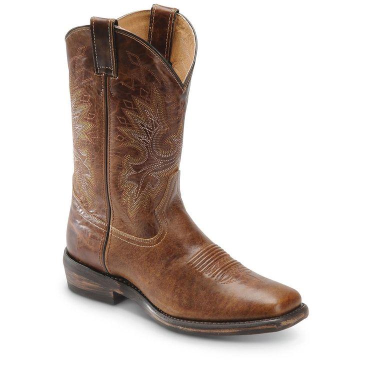 Mens Double H Vintage Tan Wide Square Toe Cowboy Boots - Matt?