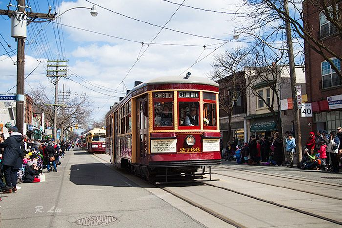 Beaches Easter Parade 2018, old TTC cars. Photo taken and made by Audrey Liu.