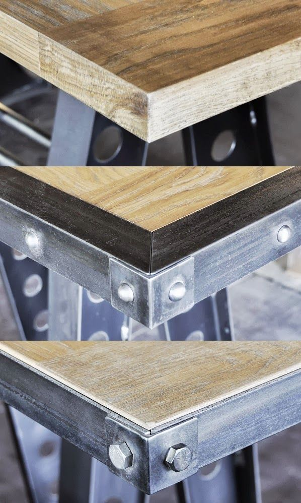 Ideas for using metal wrapped edge on an old door to create an industrial look table. DIY with copper edge for the dining room.