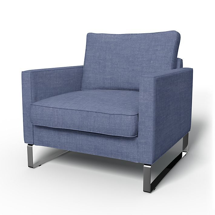 Mellby, Armchair Covers, Armchair, Regular Fit using the fabric Strand Laundered Linen Chambray Blue