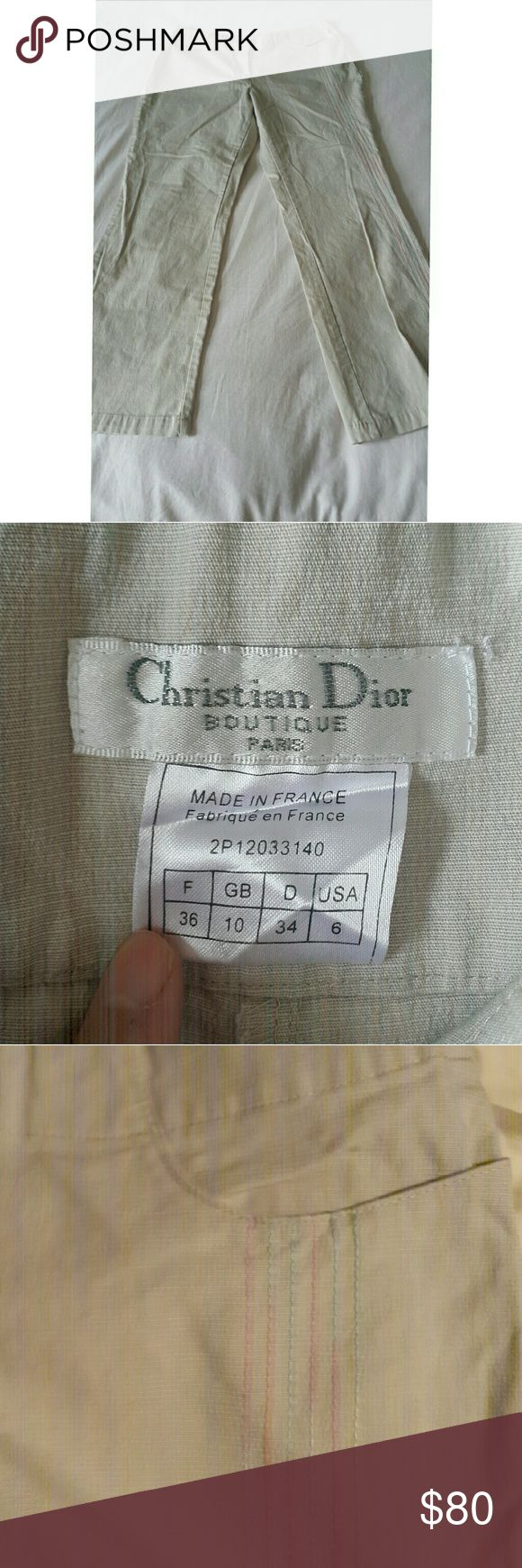Christian Dior cream pants with details NWOT Cotton lycra blend with fine stitching details Christian Dior Pants Straight Leg