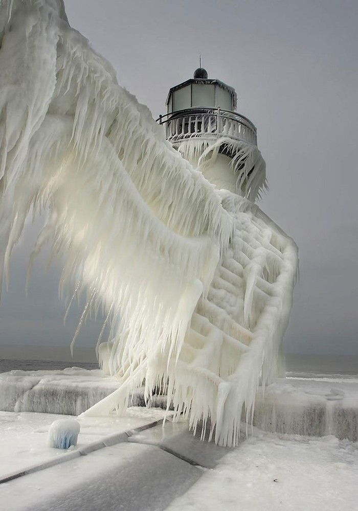 Winter, ice, snow, frost, blizzard, beauty, lighthouse
