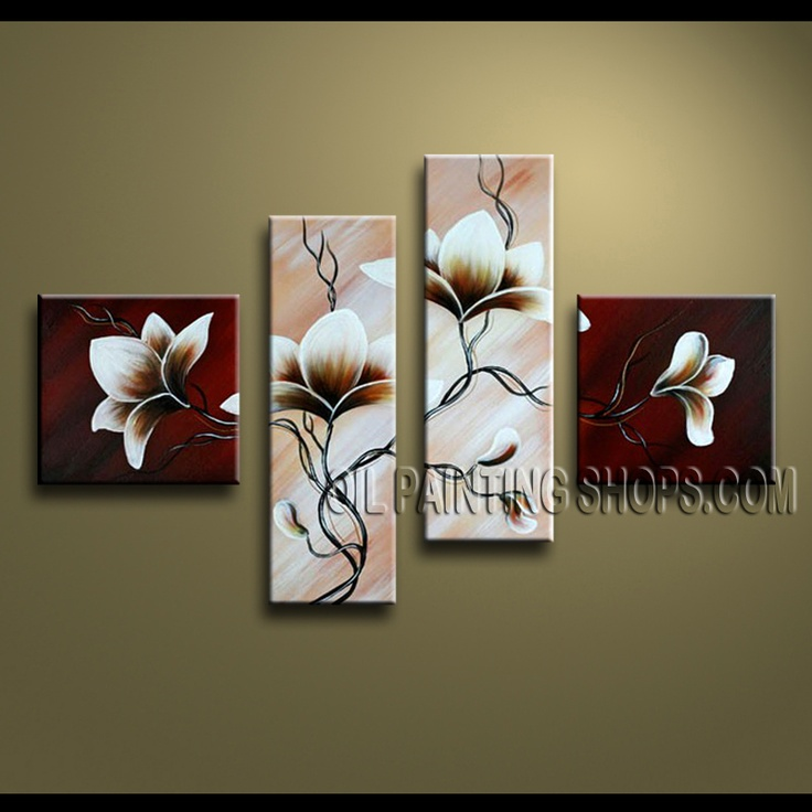 Beautiful Contemporary Wall Art Hand-Painted Art Paintings For Bath Room Tulip Flowers. This 4 panels canvas wall art is hand painted by Anmi.Z, instock - $128. To see more, visit OilPaintingShops.com