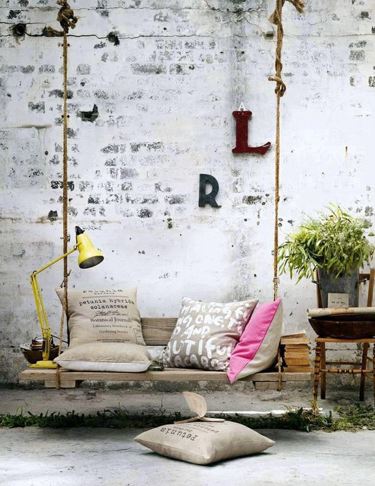 Pallet Swing. A pallet swing is a great idea to create charm and magic in a small yard or patio! By interior designer Hans Blomquist.