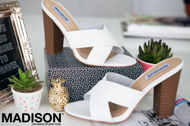 """Ana"" Ladies White Cross Over Strapped Chunky Heel Sandal by Madison ""The Heart of New York"""