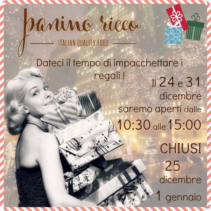 Il #Natale si avvicina anche a noi ci aspetta la corsa per impacchettare #regali, farci belli e #cucinare (anche a casa, sì!) ...   Per questo i giorni #prefestivi chiuderemo un po' prima.   #PaninoRicco #ItalianQualityFood #NataleaRoma #PaniniRoma #Santaiscoming