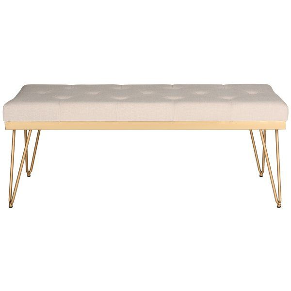 <p>Add both style and seating to your home with the right bedroom bench. Hairpin legs and a metallic base finish bring a pop of midcentury-inspired style to this chic bedroom bench, while the linen upholstery and button tufted top give it a touch of casual elegance. </p><p>Set this eye-catching bench at the foot of your master suite or guest room bed for the perfect place to lay out clothes for the next day, fold up spare throws, and put on shoes. Then add some abstract...