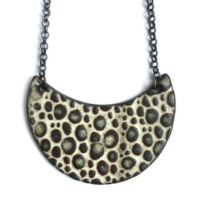 Cresent Mocha Necklace by Dotti Potts Pottery Studio, handmade in Canada. For the boho girl in you. A lovely statement necklace.