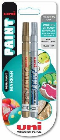 uni-ball Paint PX-21 Fine Tip Marker - Gold/Silver, Pack of 2
