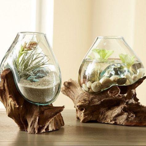Teak and Blown Glass Vase Sculpture | VivaTerra