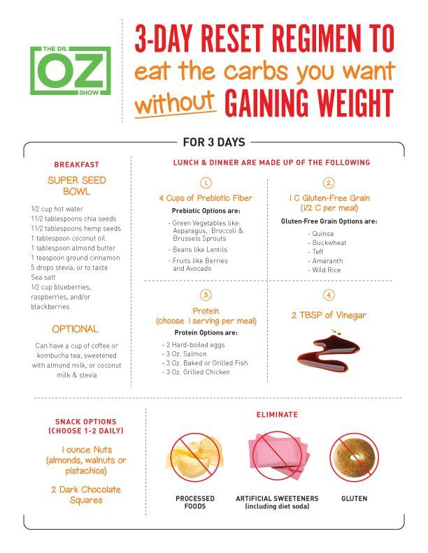 Not quite ready for a Whole30 days? Try 3 with Dr. Oz! Learn what to eat and what to avoid so you can eat carbs without gaining weight.