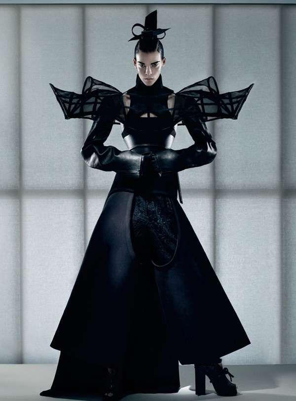 Ivana Pilja - wonderful black structural shoulder dress