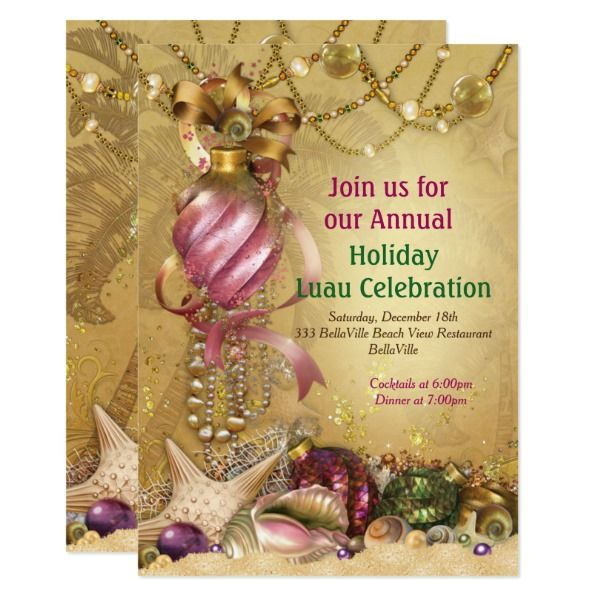 Holiday Luau Beach Party Invitations Customizable Gifts #beach #summer #party #invitation