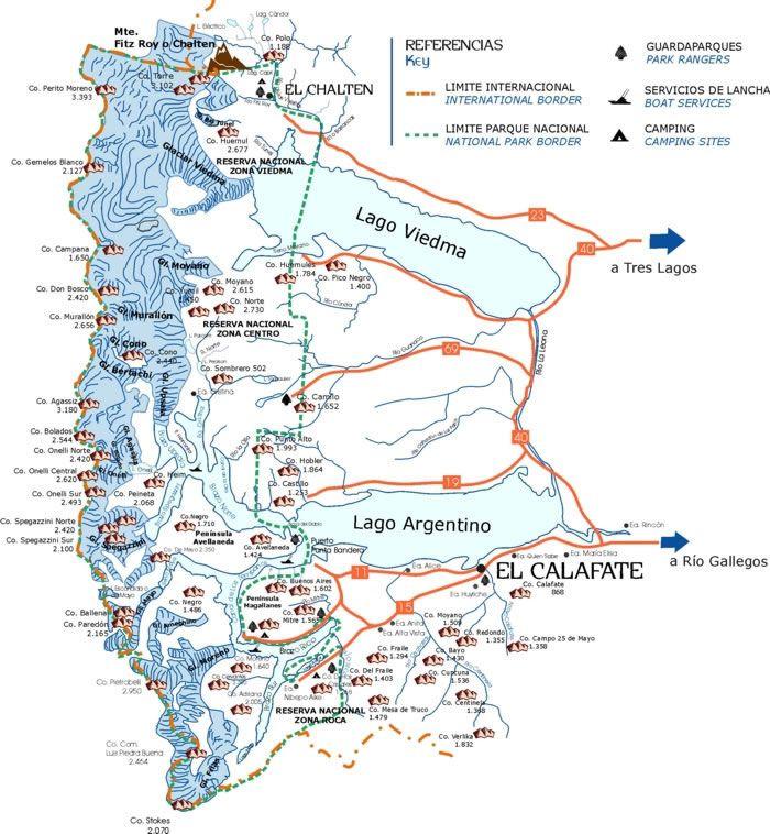 Los Glaciares National Park Map Prov Santa Cruz Argentina - Argentina map for sale