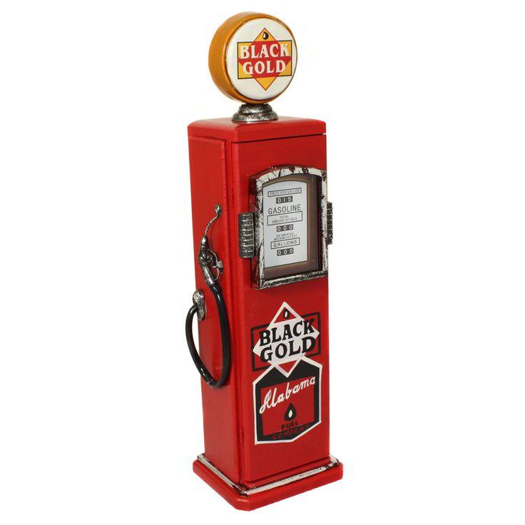 Enterprises Hand-Painted 'Black Gold Fuel Company' Gasoline Pump Multimedia CD Storage Cabinet