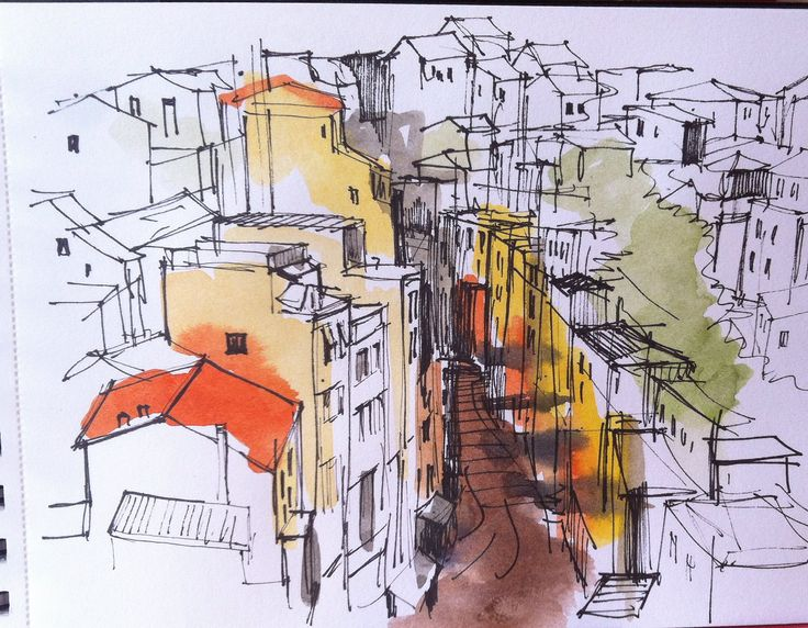 https://flic.kr/p/h2L8HB | Coloured village | A (very) quick sketch, more experimentation with using more colour than I usually do.