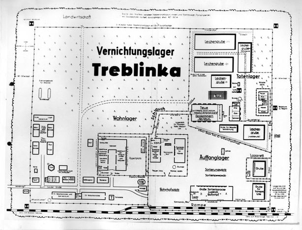 Treblinka, Poland, A blueprint of the camp. The photograph is from the private album of Kurt Franz from the time of his service as Deputy Commandant of Treblinka. The album was presented by the prosecution at Franzs trial in Dusseldorf during the years 1964-5.