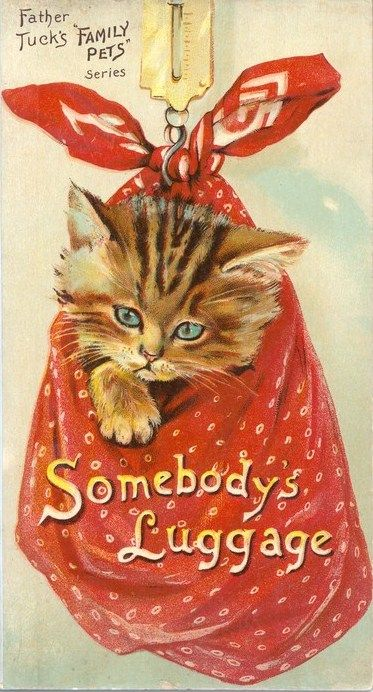 "Cats in Art and Ilustration: Father Tuck's Family Pets Series, ""Somebody's Luggage."""