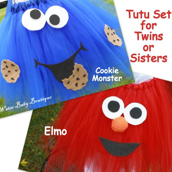 Cookie Monster & Elmo Halloween Costume Tutu by WaterBabyBoutique, $78.00