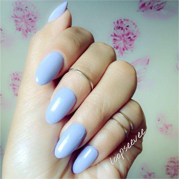Pinterest: @loopseevee Almond shaped nails Nyx nail polish. Pale purple blue tone.