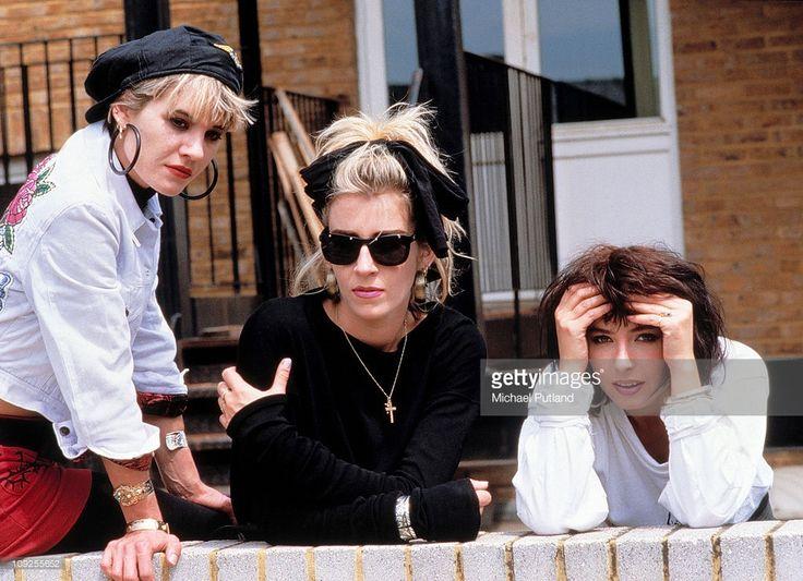 Bananarama group portrait, London, 1986, L-R Siobhan Fahey, Sara Dallin, Keren Woodward.