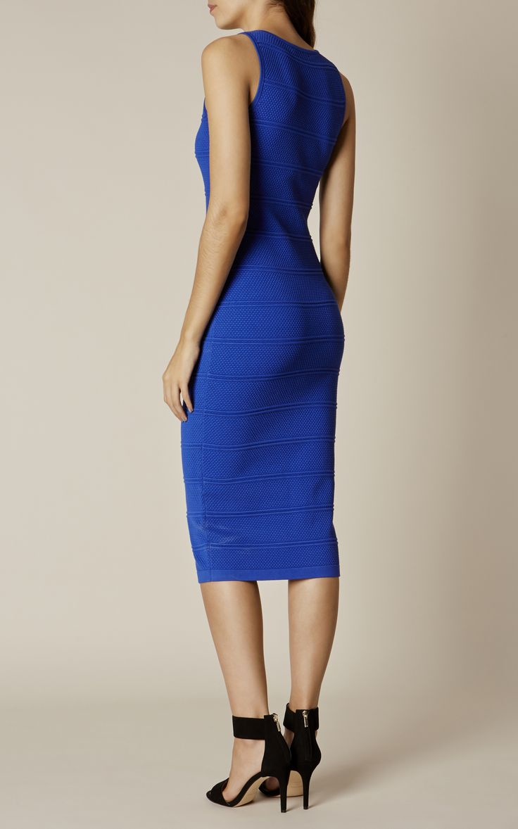 Karen Millen, TEXTURED KNIT MINI DRESS Blue/Multi