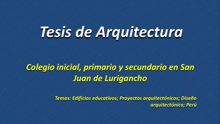 Tesis de Arquitectura Colegio inicial, primario y secundario en San Juan de Lurigancho http://hdl.handle.net/10757/622547 Temas: Edificios educativos; Proyectos arquitectónicos; Diseño arquitectónico; Perú