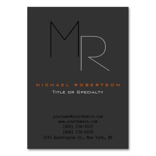 177 best plain monogram business cards images on pinterest trendy gray black monogram plain business card fbccfo Images