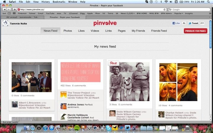 You can pin your Facebook now too! Pinvolve looks like this. Just click.
