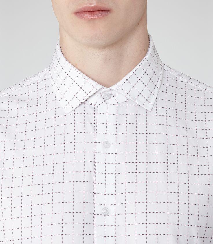 Mens White Grid Check Shirt - Reiss Spur