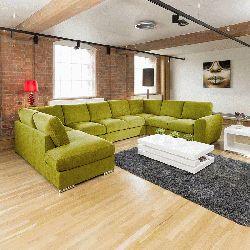 Extra Large Sofa Set Settee Corner Group U / L Shape Green 4.0 x 2.6m R