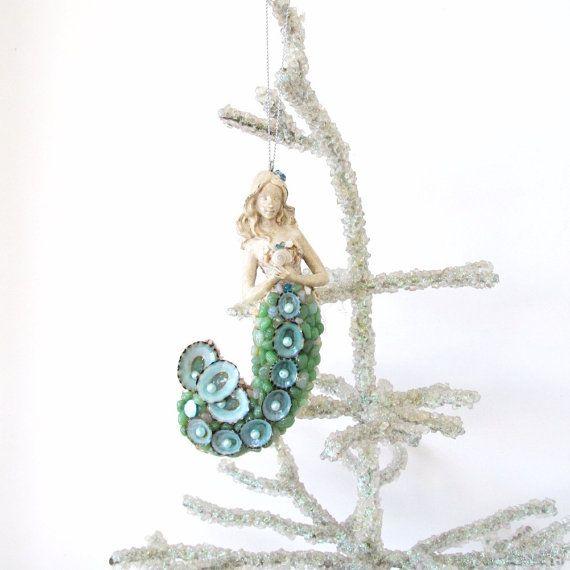 Mermaid ornament seashells christmas tree coastal decor for Christmas tree ornaments made from seashells