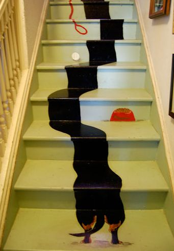 What a fun idea painting a dachshund stretching up the staircase. This must of taken a lot of paint, time and if course imagination. This would be a great project for you kids!