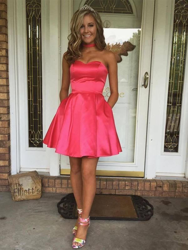 14308a7fd5 Sweetheart Simple Cute Cheap Short Red Homecoming Dresses Under 100 ...