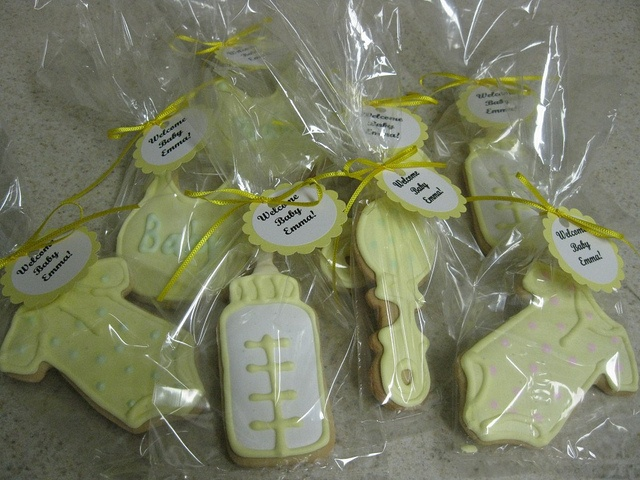 Baby shower for a baby girl- Decorated sugar cookies as party favors.