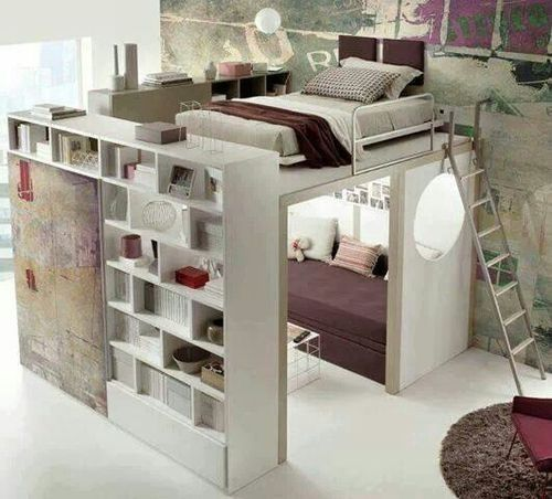 crazy loft bed with bookshelves!