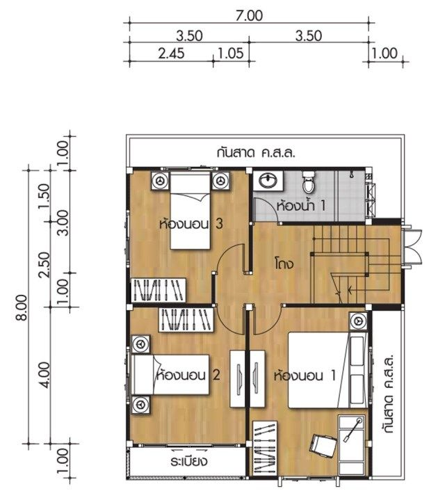House Design Plans 7x8m With 3 Bedrooms Home Ideassearch Home Building Design Home Design Plans House Design