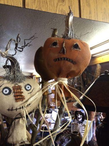 Primitive Fall Folk Art Grungy Pair Pumpkin Pokes for Crocks Vintage Halloween | eBay