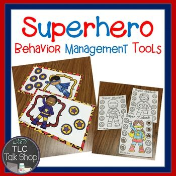 Have a Super hero theme happening in your classroom or speech room? Or are you are a parent looking for a way to motivate your child while managing behaviors at home? This year our entire school had a super hero theme happening so I made up these behavior management tools to use in my speech room.