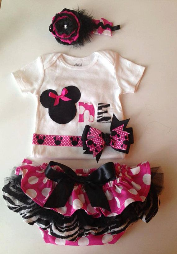 Minnie Mouse Birthday, First Birthday, Minnie Mouse, cake smash set, ruffle bloomers