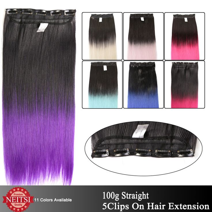 """Neitsi 22"""" 5Clips 100g Two Tone Ombre Colored Synthetic Clip In On Hair Extensions Straight Braiding Fashion Hairpiece For Woman"""
