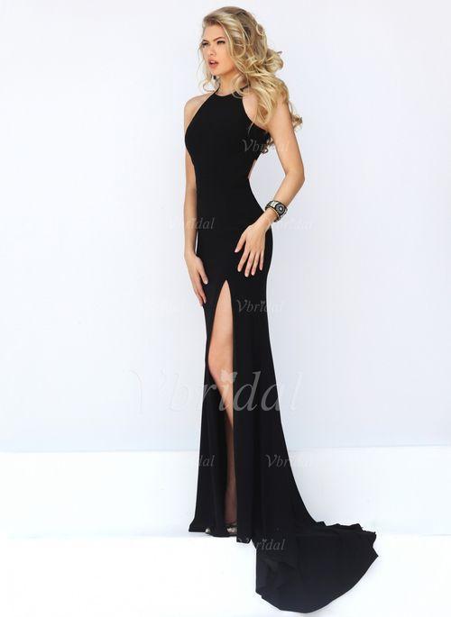 Langes schwarzes leinenkleid