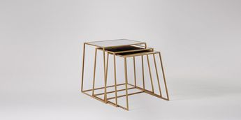 Swoon Editions Side table, contemporary-style in brass and antiqued mirror - £249