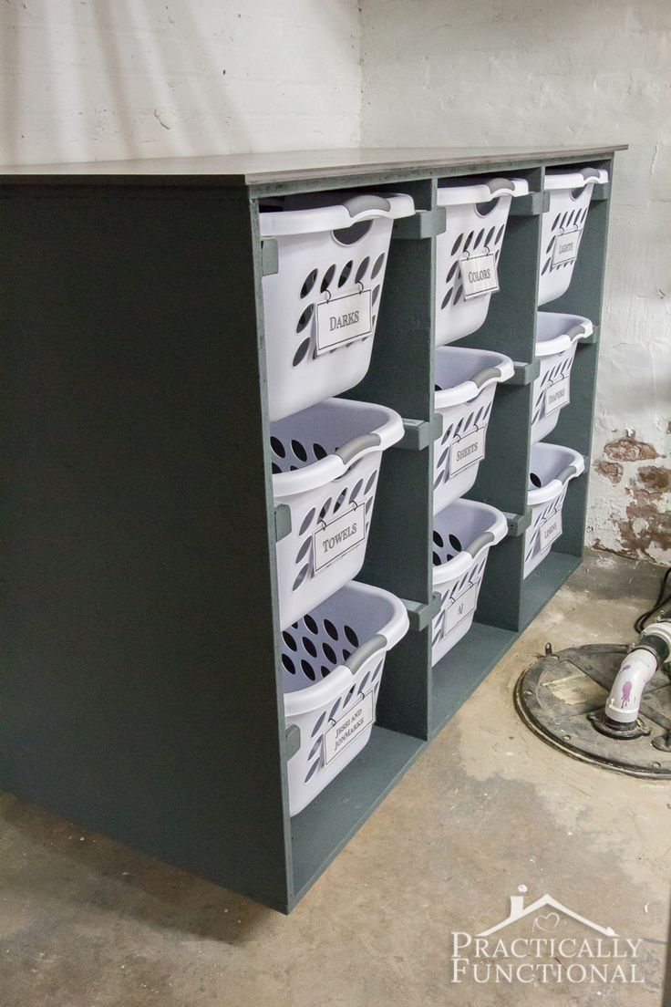 Use this simple DIY laundry basket dresser to keep your laundry room organized!