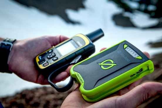 A USB and solar-powered device that charges headlamps, cameras, and electronics.