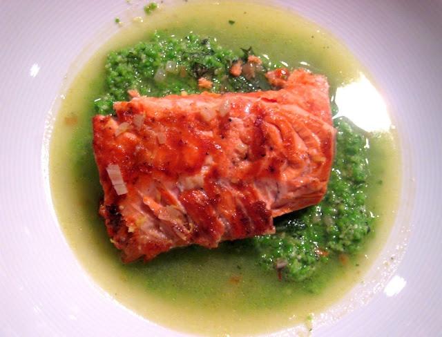 Salmon in Lemon Brodetto with Pea Puree #copperriversalmon @citygirlchicago