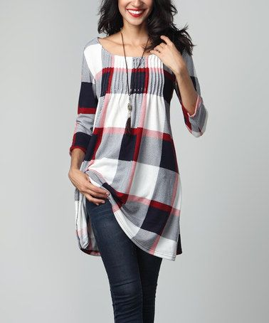 Love this Red & White Plaid Pin-Tuck Empire-Waist Tunic on #zulily…